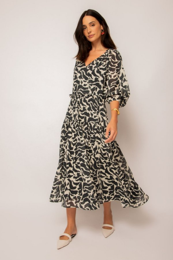 vestido cache coeur de voil pássaros preto mini