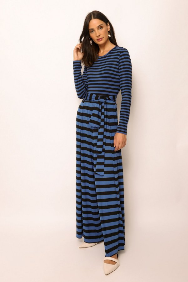 body de malha manga longa listrado azul mini