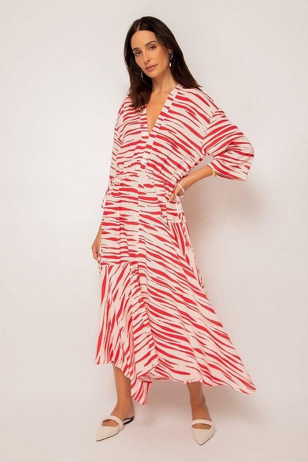 vestido de linho misto pontas zebrado cereja