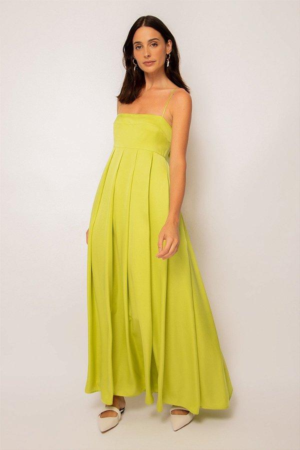 vestido de cetim longo com pregas limão - LIMÃO