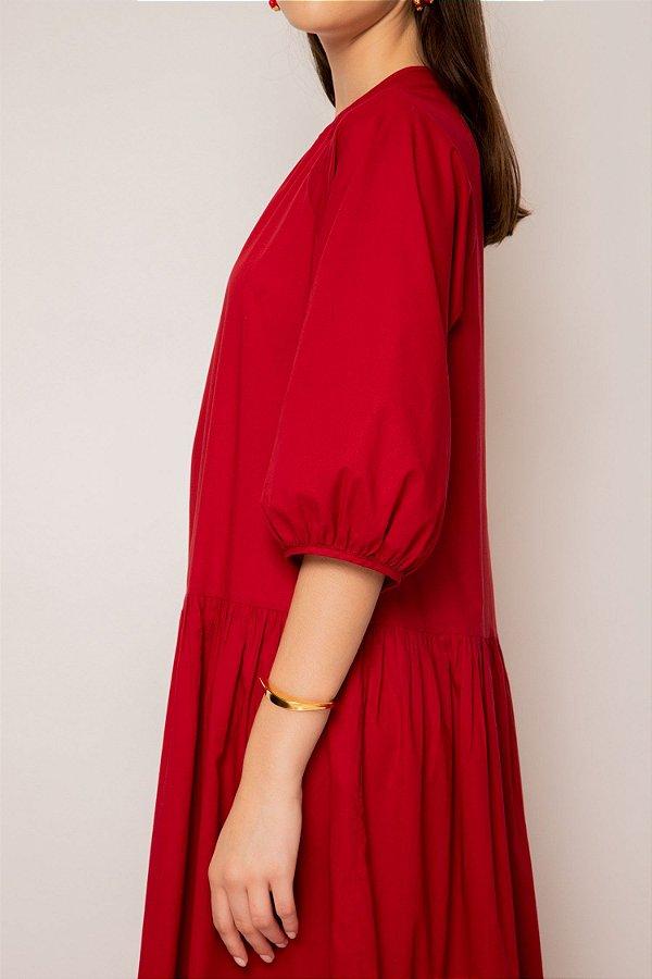 vestido longo amplo de voil cereja