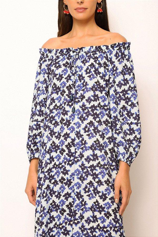 vestido amplo ombro a ombro flores azul