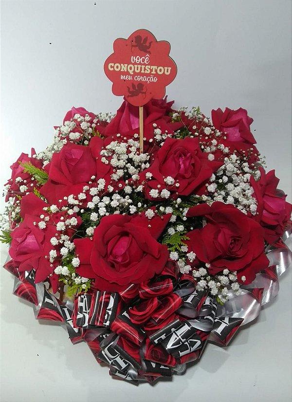 Chapéu com Rosas + Plaquinha