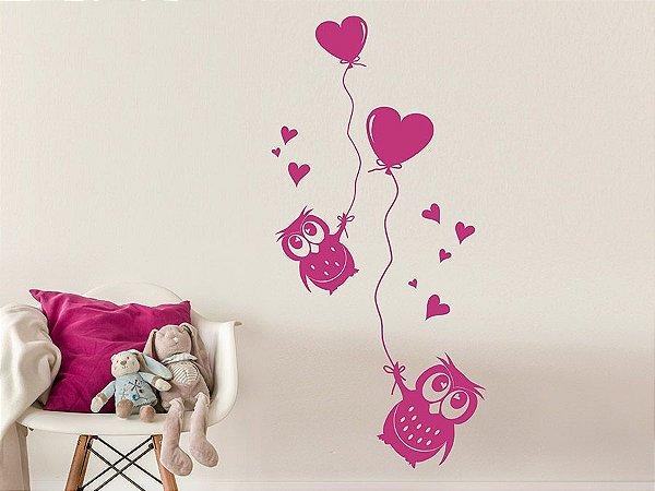 Adesivo de parede - Corujas e corações