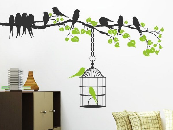 Adesivo de parede - Pássaros e Gaiola