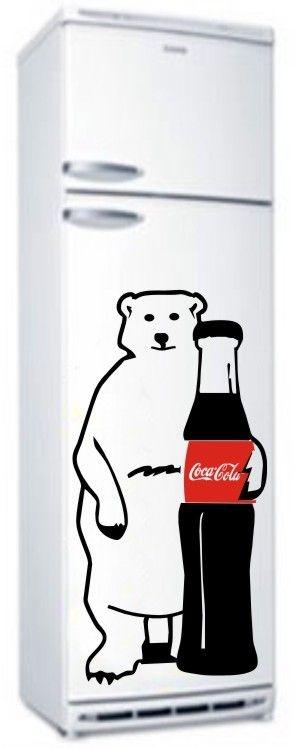 Adesivo para geladeira decorativo - Urso com refrigerante - 075x040 cm