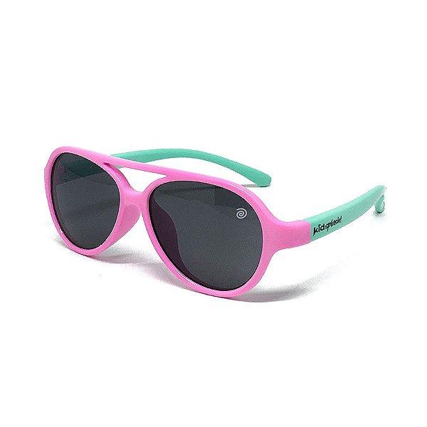 Óculos de Sol Flexível Aviador - Rosa e azul