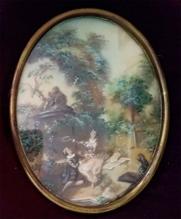 Antiga Pintura Miniatura Romântica, Casal, com Vidro Bombê Oval