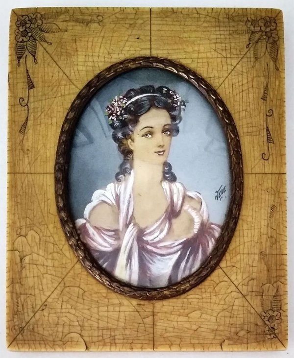 Antiga Pintura Dama Em Miniatura Vidro Bombê Oval
