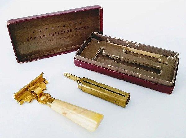 Antigo Conjunto de Barbear Schick com Injetor de Lâminas na Embalagem