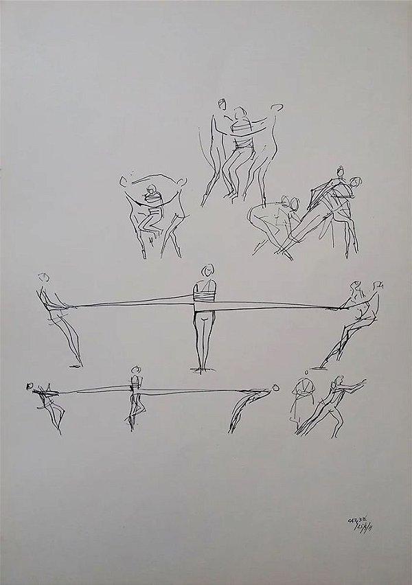 Carybé - Estampa, Cenas de Balé, Nureyev, Grupo de Bailarinos