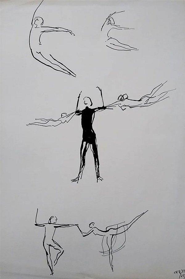 Carybé - Estampa, Cenas de Balé, Figuras de Bailarinos, Nureyev