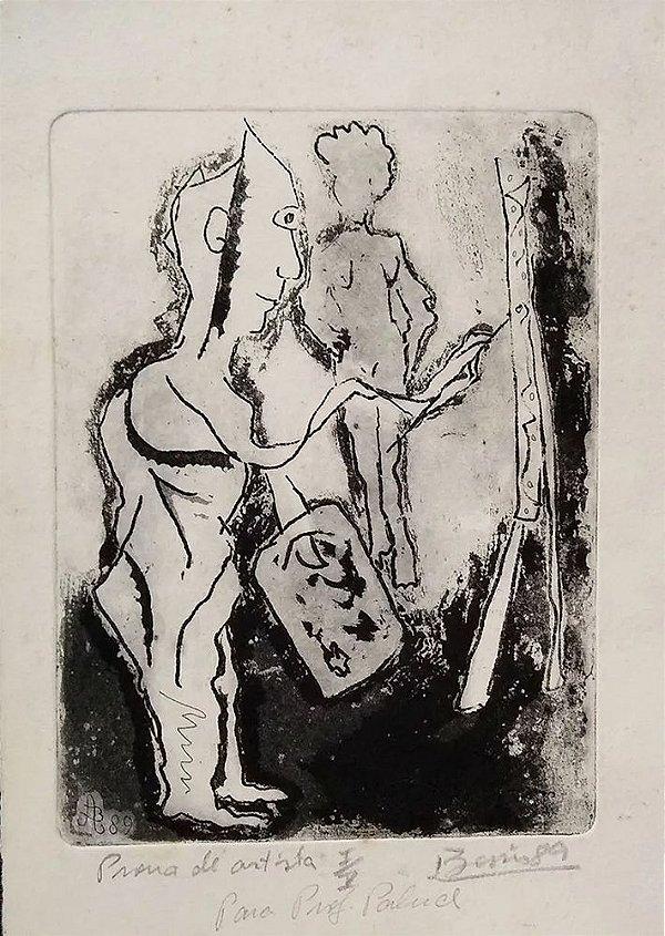 Boris Arrivabene - Gravura Original PA, Assinada, Pintor e sua Modelo