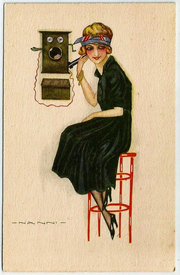 Cartão Postal Antigo Original 1920 - Ilustrado pelo Artista Nanni, Mulher ao Telefone,  Art Déco - Não Circulado