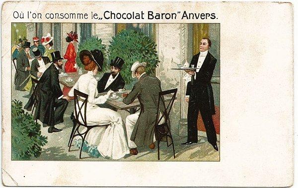 Cartão Postal Antigo Original, Ilustrado, Publicidade do Chocolate Baron, Anvers, Bélgica, Não Circulado