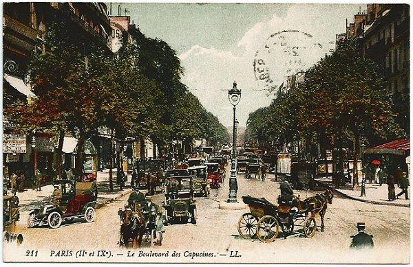 Cartão Postal Antigo Original - Paris, França - Boulevard des Capucines - Circulado em 1912
