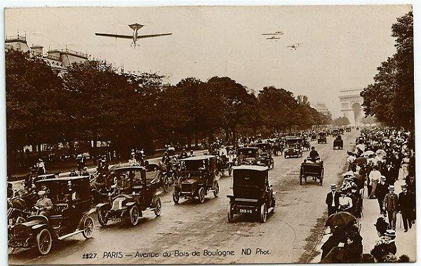 Cartão Postal Antigo Original, Paris, França - Avenue Bois de Boulogne - Circulado em 1912