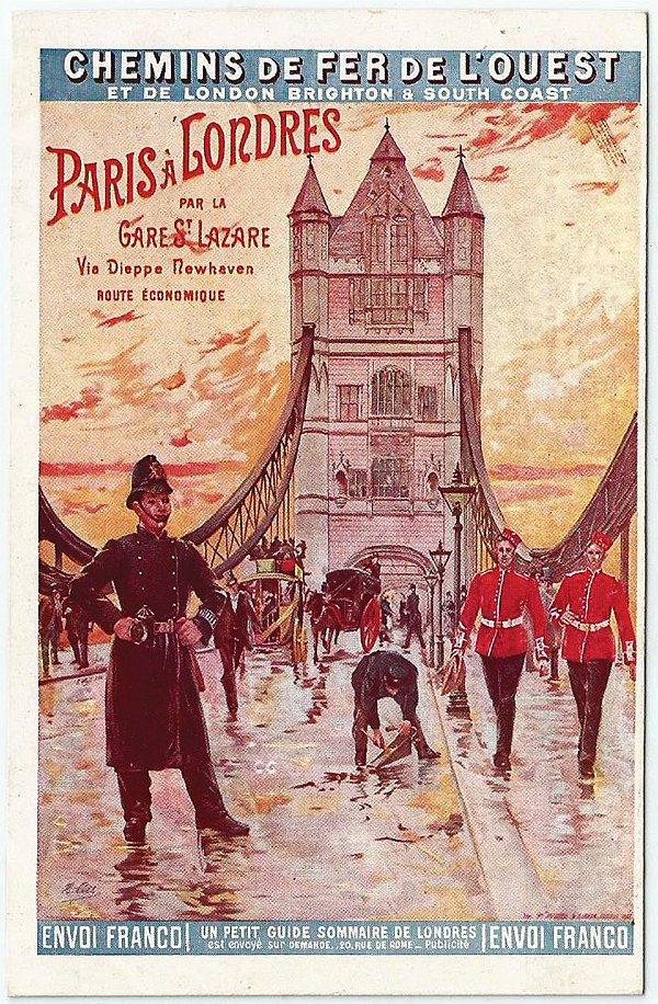Cartão Postal Antigo Original, Publicidade Companhia Ferroviária L'Ouest - França - Não Circulado