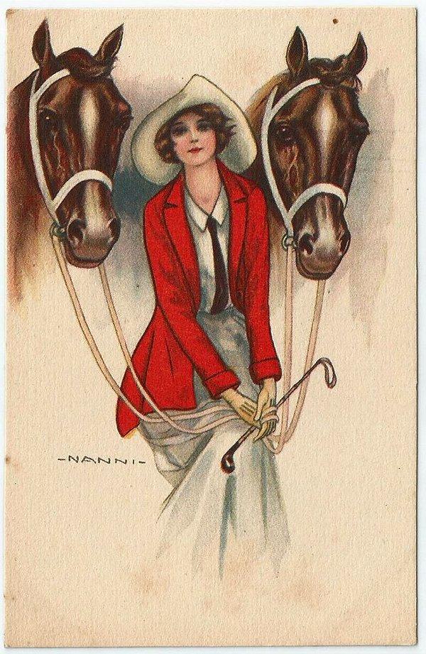 Cartão Postal Antigo Original, Ilustração do Artista Italiano Nanni, Figura de Dama e Dois Cavalos