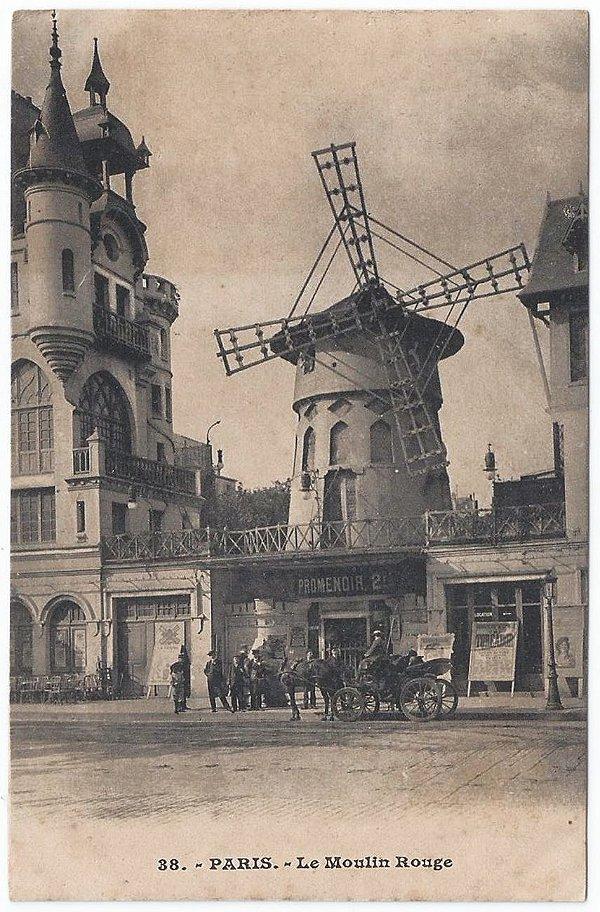 Cartão Postal Antigo Original - Paris, França, Le Moulin Rouge, Burlesque, Vaudeville - Não Circulado