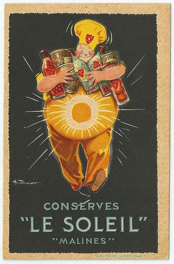 Cartão Postal Antigo Original, Ilustração Publicidade de Conservas Le Soleil. França - Não Circulado