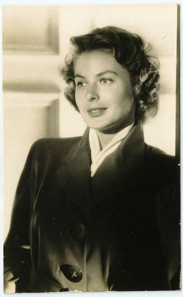 Cartão Postal Antigo Original, Fotografia da Atriz Ingrid Bergman, Hollywood