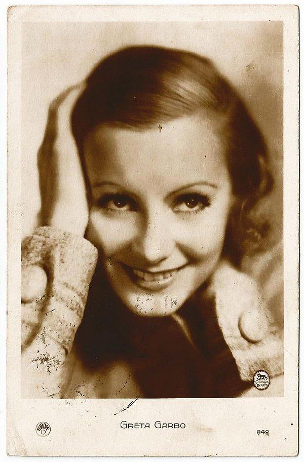 Cartão Postal Antigo Original, Fotografia da Atriz Greta Garbo , Hollywood