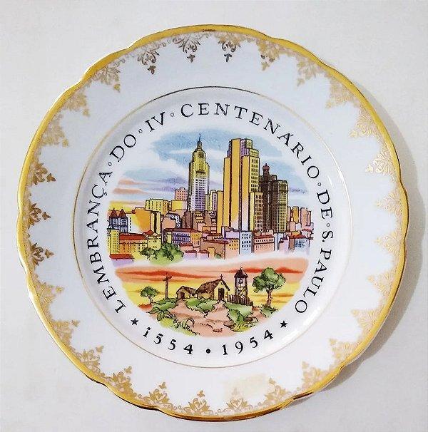 IV Centenário de São Paulo - Antigo Prato em Porcelana com Imagem do Prédio do Banespa 23 Cm