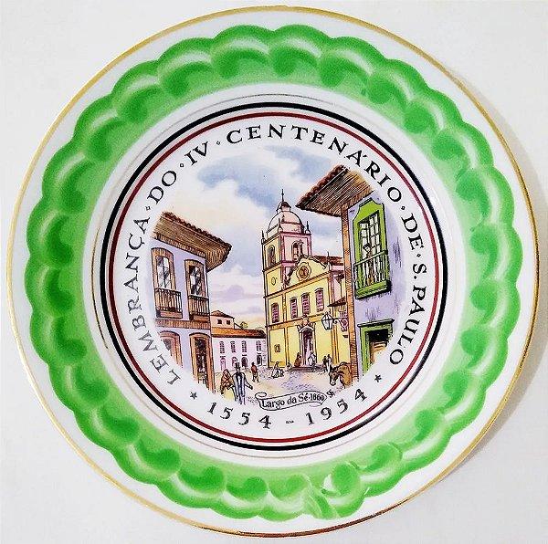 IV Centenário de São Paulo - Prato em Porcelana com Imagem do Largo Da Sé em 1860, 21 cm
