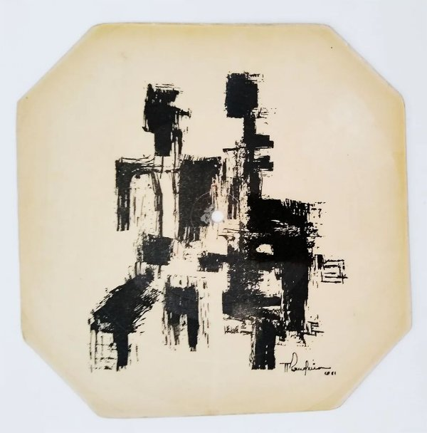 Antonio Bandeira - Arte Abstrata em Disco de Vinil sobre Cartão IV, 1961, Assinada