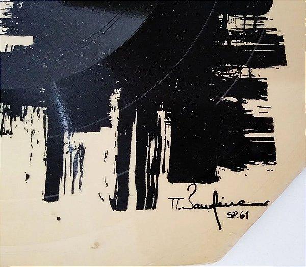 Antonio Bandeira - Arte Abstrata em Disco de Vinil Aplicado em Cartão V, 1961, Assinado