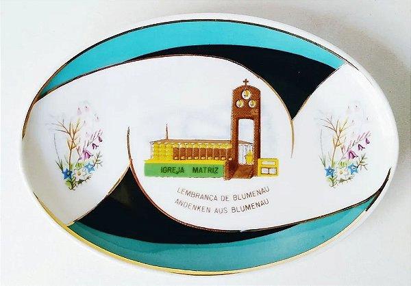 Prato em Porcelana Oval, Lembrança de Blumenau - Imagem da Igreja Matriz