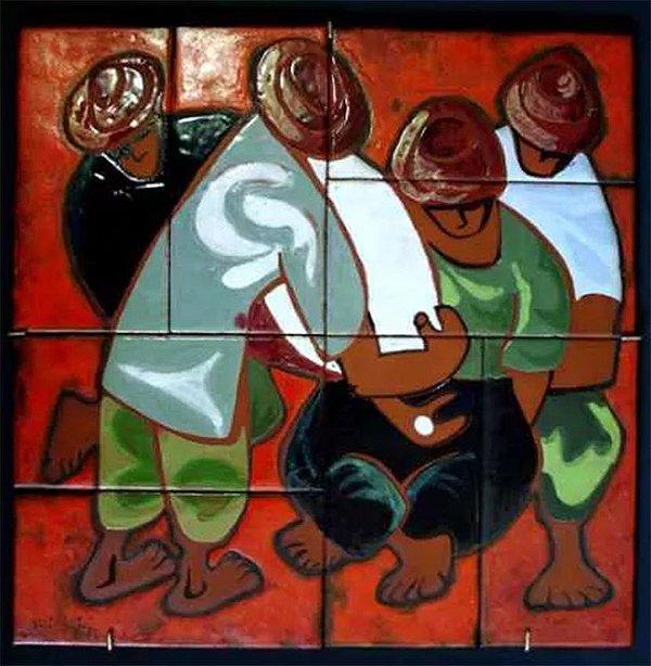 Sérgio Rizzi  - Quadro, Pintura sobre Azulejos de Cerâmica, Assinado,  1970