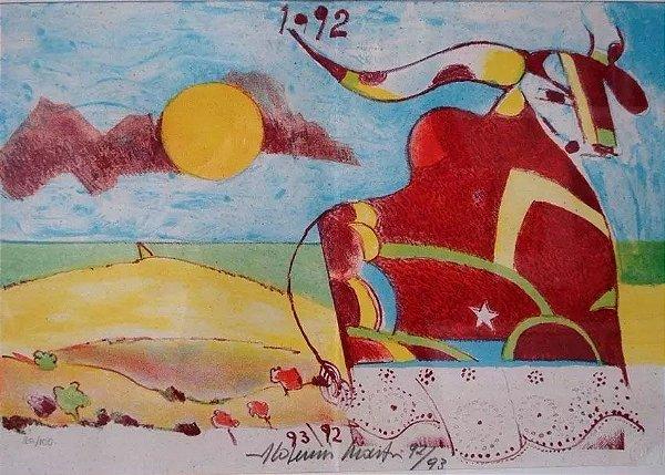 Aldemir Martins - Quadro, Gravura - Boi Bumbá - Com Dedicatória e Assinada, 1992