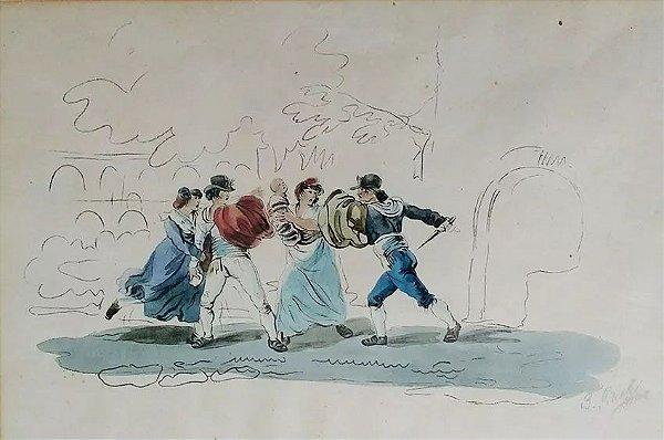 Bartolomeo Pinelli - Quadro, Pintura, Desenho Aquarelado S/obre Papel, Assinado,  Circa 1820