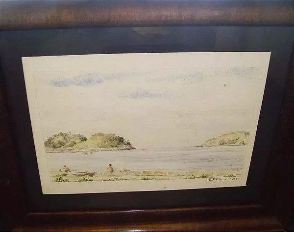 E. Frioli - Quadro, Pintura Aquarela Sobre Papel,  Beira Do Rio,  1945