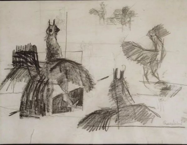 João Quaglia - Desenho Original, Galos - Quadro, Estudo em Grafite, Emoldurado e Assinado, Datado 1980