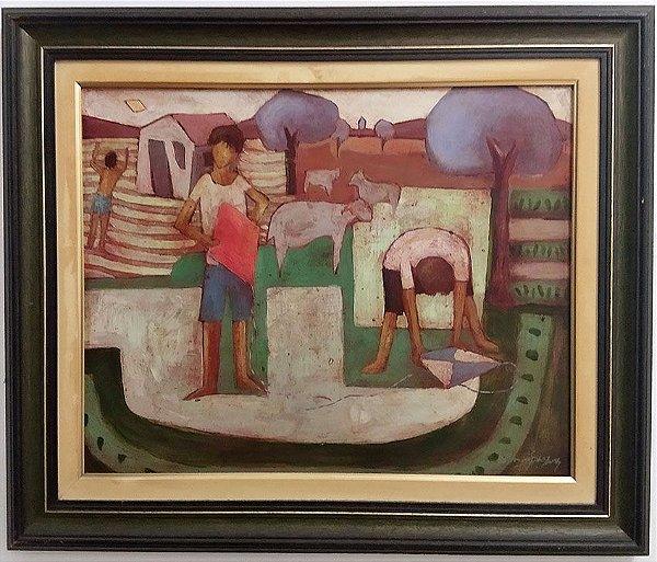 Waldomiro Sant´Anna - Quadro, Pintura Técnica Mista S/ Eucatex, Assinado