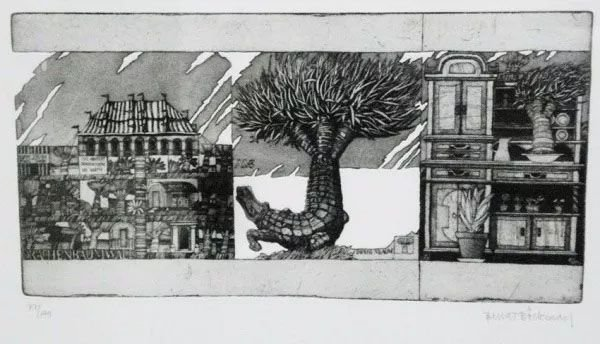 Bengt Böckman - Quadro, Gravura Original da Série Arquitetura em Metamorfose, Assinada pelo Artista Sueco