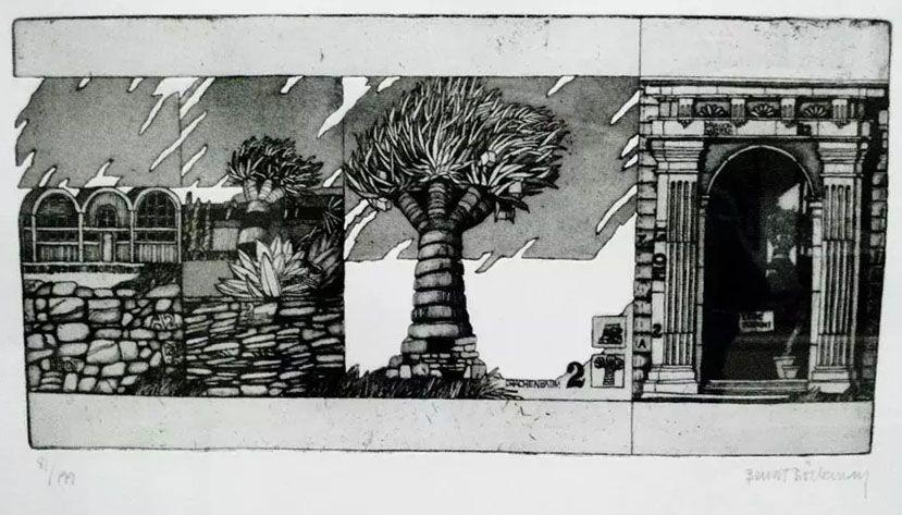 Bengt Böckman - Quadro, Gravura Assinada pelo artista sueco, da Série Arquitetura em Metamorfose