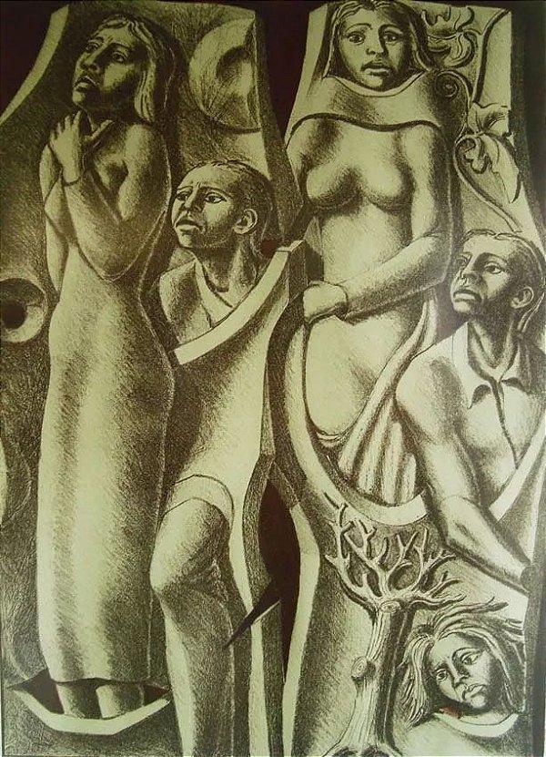 Angelo Casati - Quadro, Gravura Original Assinada, Gli Ellenici - Os Helenos