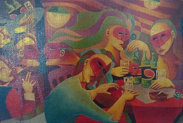 Lu Parreira - Quadro Pintura Óleo Sobre Tela,  Assinado, Noturno Nº 1 Para Cerveja e Conversa