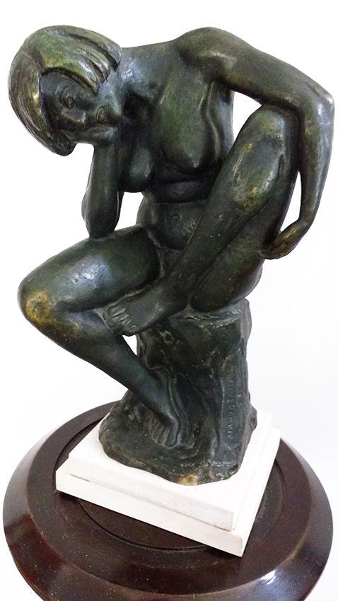 Gilberto Mandarino - Escultura em Bronze, Figura de Nu Feminino, Assinada