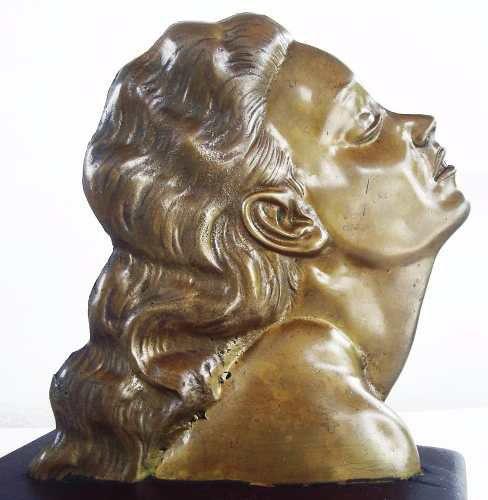 Escultura Retro Em Bronze - Rosto De Mulher