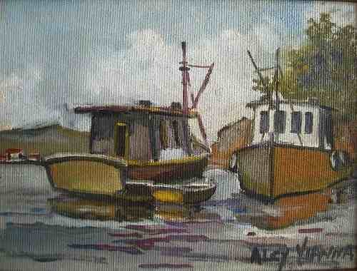 Alcy Vianna - Quadro, Pintura Óleo sobre Eucatex - Barcos - Assinada