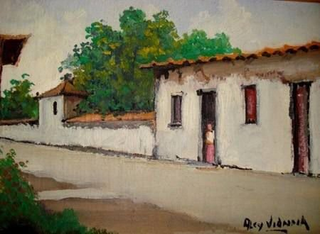 Alcy Vianna - Quadro, Pintura Óleo Sobre Eucatex - Casario - Assinada