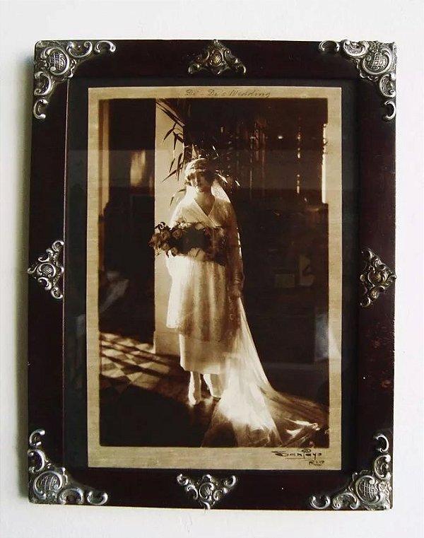 Fotografia Assinada por San Payo Anos 1920 Noiva no Dia do Casamento Porta Retrato Antigo