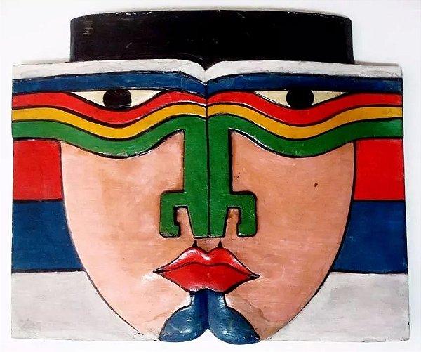 Escultura de Parede - Máscara em Madeira com Relevos e Policromia 32x26cm