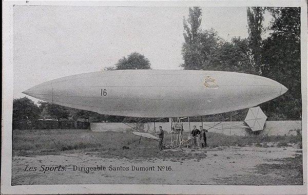 Santos Dumont - Dirigível Numero 16, Cartão Postal Antigo Original 1906