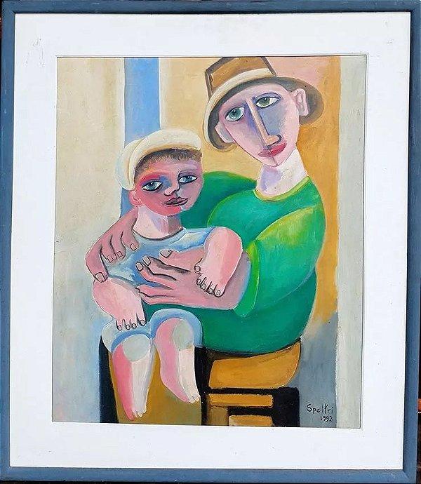 Ingres Speltri - Óleo Sobre Tela  Representando Maternidade, Emoldurado